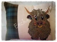 Harris Tweed Highland cow cushion by Enchanted Mojo Sarahjayne