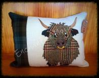 Harris Tweed Highland cow cushion by Enchanted Mojo